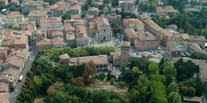 Aerial view of the centre of Formigine