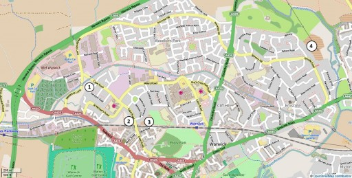 Map of Warwick showing the four allotment sites