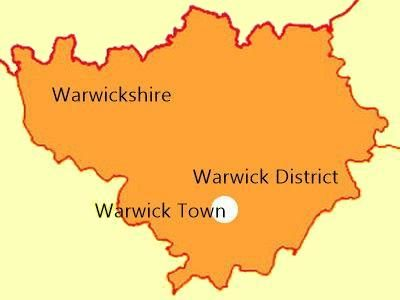 Outline map of Warwickshire showing the location of Warwick